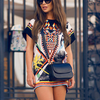 Printed Short-Sleeve Shift Dress