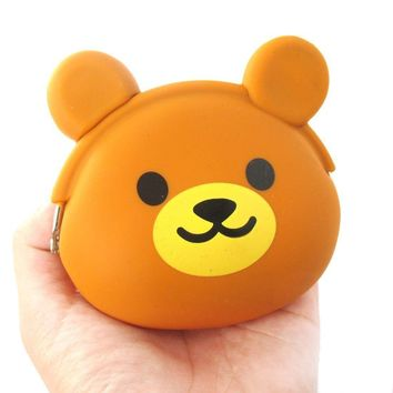 Brown Teddy Bear Shaped Mimi Pochi Animal Friends Silicone Clasp Coin Purse Pouch