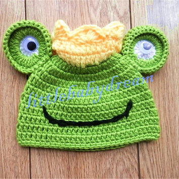 On Sale! Baby Boy Girl Crochet Green frog Hat Costume Infant Halloween Christmas Costumes Photo Photography Prop