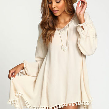 TASSEL GAUZE CAFTAN DRESS