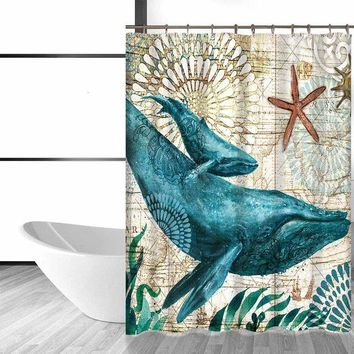 The Sea Shower Curtain with 12 Hooks
