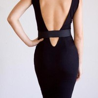 Black Cocktail Dress - Vanessa Bodycon Cut-Out Backless Banded | UsTrendy
