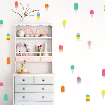ice cream Wall Decal / 6 color ice cream Decal /  50 colorful ice cream pattern / Kids Room Decal / Nursery decal / Home Decor / gift