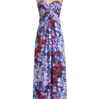 Strapless Maxi Felicitous Florals Dress