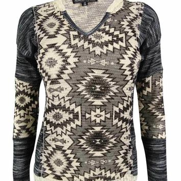 Almost Famous Juniors' Printed V-Neck Hoodie Sweater