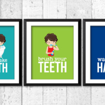 Boys bathroom rules, bathroom posters, funny bathroom decor, home decor, take a bath, wash your hands, brush your teeth prints, kids art