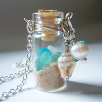 Glass Vial Necklace Glass Bottle Necklace Lake by KarmaBeads