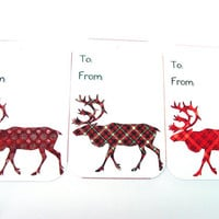 Modern Christmas Reindeer Gift Tags Set of 8 Reindeer In Red Prints To And From