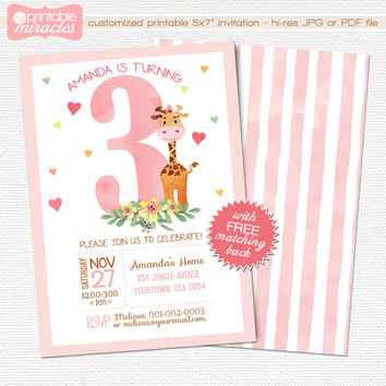 Pink giraffe invitation, Girl safari invite - Watercolor birthday invitation - Custom digital printable invitation - for any ages