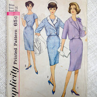 Vintage Pattern Simplicity 4346 1960s 1962 Ladies skirt suit Bust 36 cropped jacket Scalloped Jackie Kennedy Onassis Betty Draper