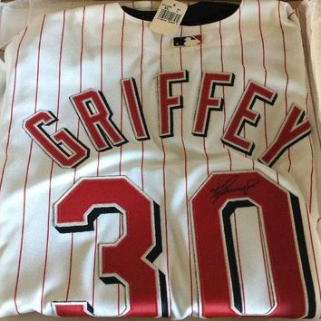 LMFONY Ken Griffey, Jr. Signed Autographed Cincinnati Reds Baseball Jersey (Upper Deck Authenticated COA)