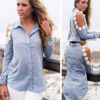 Casual Women Lapel Long Sleeve Off Shoulder Lace Applique Button Down Shirt Tops