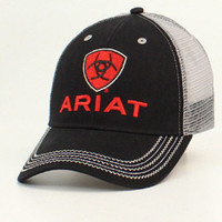 Ariat Red Shield Logo Grey Mesh Black Snap Back Cap