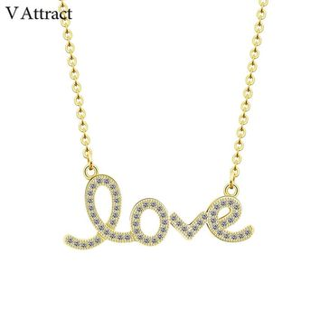 V Attract Gold Chain Colar Message CZ Love Word Charm Statement Necklace Wedding Jewelry Letter Pendant Choker Bijoux Femme