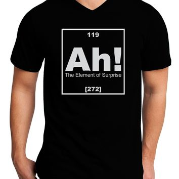 Ah the Element of Surprise Funny Science Adult Dark V-Neck T-Shirt by TooLoud