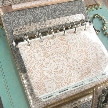 leather binder - metallic pink, snake and lace - handstitched