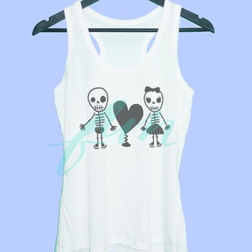 Skull heart tank top Grey tunic dress or White tank **racerback tank top size S M L XL