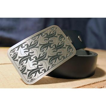 MC Escher Lizards Belt Buckle