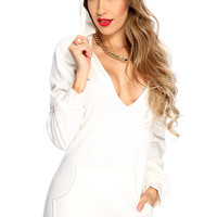 White Hoodie Long Sleeves Sweater Dress