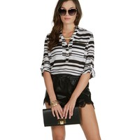 Sale-black Stripes All Around Top