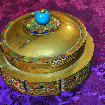 Vintage Brass Asian Bowl-Brass Candy Dish-Vintage Change Holder-Bath Bead Container-Blue Enameled-Collectible