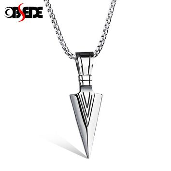 OBSEDE Punk Titanium Steel Necklace Charms Spear Arrow Pendants Necklace for Men Jewelry Silver & Gold Chain Best Friend Gifts