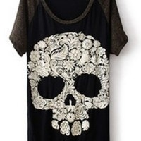 Black Short Sleeve Skull Print Dipped Hem T-Shirt - Sheinside.com