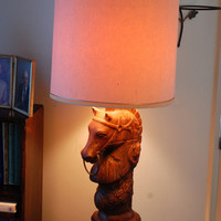 Mid Century / Holland Molds Horse / Table Lamp with Shade / Hand Crafted Ceramic Holland Mold / Frank Hollendonner / Wood Base