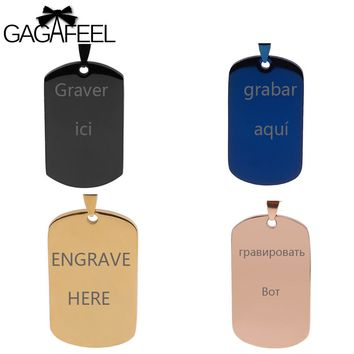 GAGAFFEL Custom Military Tag Laser Engrave Dog Cards Necklace For Men Women Lovers Unique Army Pendant Stainless Steel Jewelry