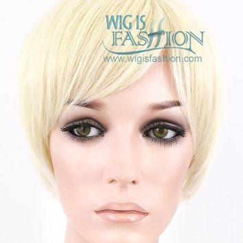 "10"" Short Straight Light Blonde Fashion Synthetic Hair Wig FB03"