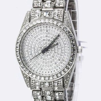 Platinum Silver Cubic Zirconia Pave Ladies Watch