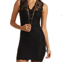 Lace Bodycon Dress by Charlotte Russe - Black