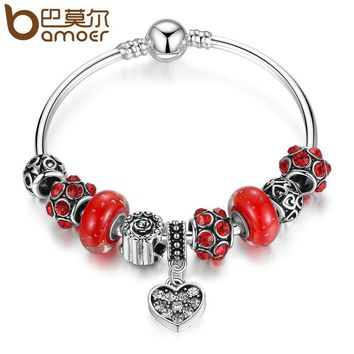 Bamoer Silver & Red Murano Glass Beads Heart Pendant Charm Bracelet with Bangles