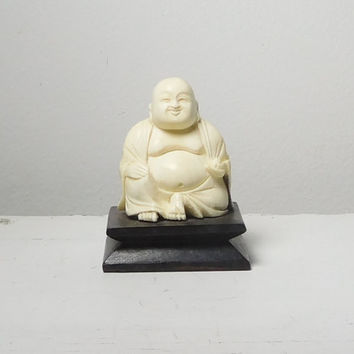Buddah Statue White Off White Yoga Decor Small Figurine Vintage Plastic or Celluloid Wood Base