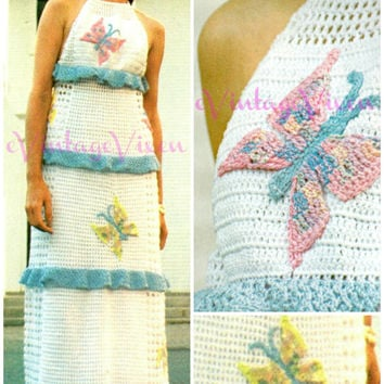 Butterfly Halter Maxi Dress Instant Download PDF 1970s Crochet Vintage Pattern social butterfly hippie Clubbing Party Festival Summer Resort