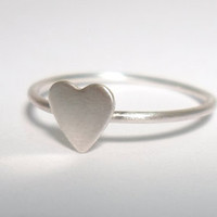 Sterling Silver Heart Knuckle Ring -Layering Above the Knuckle Stackable Ring