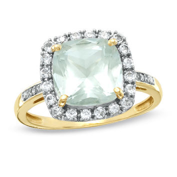 Cushion-Cut Green Quartz and Lab-Created White Sapphire Ring in 10K Gold with Diamond Accents