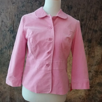 Womens Isaac Mizrahi M Medium Pink Velvet Blazer Jacket 3/4 Sleeves New
