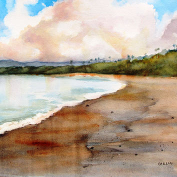 Original Watercolor Painting, Landscape, Tropical sandy beach,11x14,  Aganoa beach,Savaii Island,Samoa, beach theme, ocean theme, Island Art
