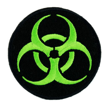 Toxic Green Biohazard Sign Patch Iron on Applique Horror Clothing Zombie Apocalypse