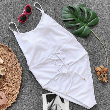 New Sexy 2018 High Neck Corset One Piece Swimsuit Women Swimwear Female Lace Up Bather high waist Bathing Suit Swim Wear V823