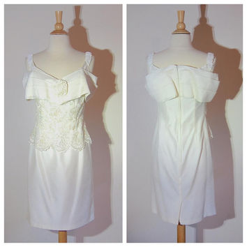 Scott McClintock Dress 80s Off Shoulder White Gown Beaded and Sequined Bust Knee Length Bridal Gown Formal Fancy Lovely Dress size 6