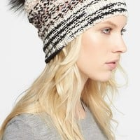 Women's Missoni Chunky Knit Hat with Genuine Fox Fur Pompom