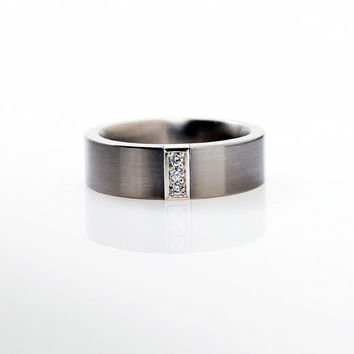 Titanium wedding band with platinum Diamond setting, mens wedding band, platinum, men diamond ring, titanium band, unique