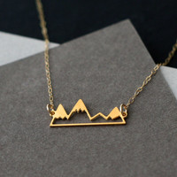 little golden mountain range necklace