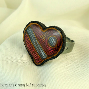 Polymer clay faux cloisonne heart ring, Red silver pearl gold, Love affection friendship modern jewelry, Colorful boho, Valentine's day
