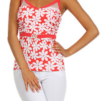 Floral Print V-neck Mesh Jewel Top - Coral