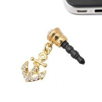 Gold Plated Crystal Anchor Charm iPhone and Smartphone Anti Dust Plug Cover Stopper