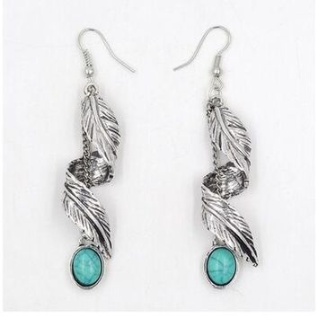 Tibet Silver Leaf Dangle Earrings Turquoise Ethnic Natural Stone Earrings