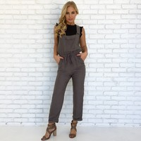 Freestyle Overall Jumpsuit in Charcoal Grey